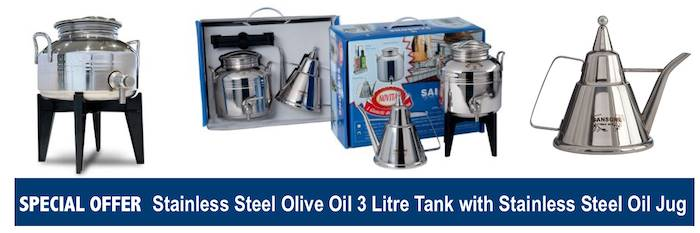 SPECIAL OFFER ~ Stainless Steel Olive Oil 3 Litre Tank with Stainless Steel Oil Jug
